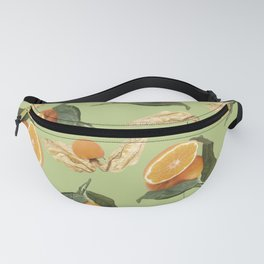 Oranges and Physalis Fruits Pattern on green Background Fanny Pack