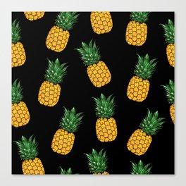 Pineapple Black Canvas Print