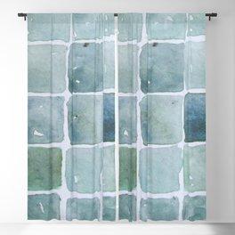 Seafoam Tiles - Watercolor Blackout Curtain