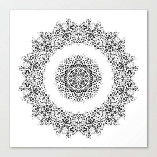 Black And White Floral Mandala Canvas Print