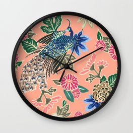 Peacock Floral in Coral Wall Clock