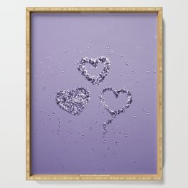 Ultra Violet LOVE Glitter Hearts #1 #shiny #decor #art #society6 Serving Tray