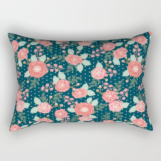 Florals boho modern watercolor blooming blossom garden nature summer spring navy pink white Rectangular Pillow