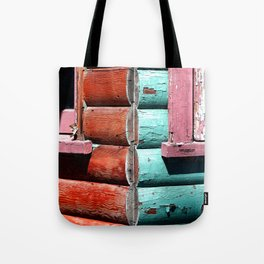 Turquoise and Red Tote Bag