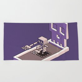 Familiar Face — isometric pixel artwork Beach Towel
