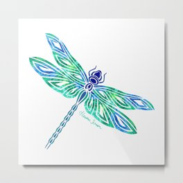 Tribal Dragonfly Blues and Greens Metal Print