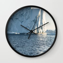 icebergs at midnight - disko bay Wall Clock