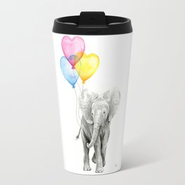 Elephant Watercolor with Balloons Rainbow Hearts Baby Whimsical Animal Nursery Prints Travel Mug