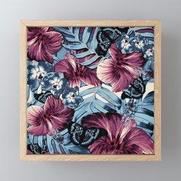 Vintage Chambray Burgundy Aloha Framed Mini Art Print