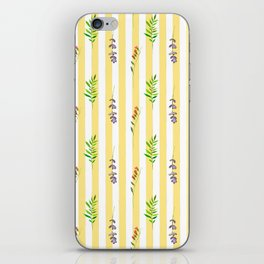 Geometrical yellow white pink watercolor floral leaves stripes iPhone Skin