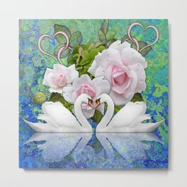 Swans and Roses Metal Print