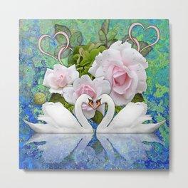 Swans and Roses Metal Print