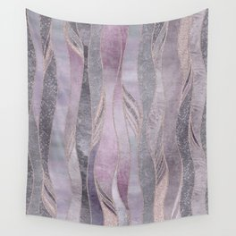 Glamorous Rose Gold Purple Wavy Glitter Lines Wall Tapestry