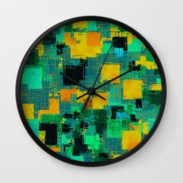geometric square pattern abstract in green and yellow Wall Clock