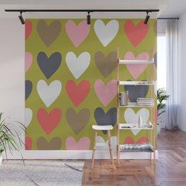 Handdrawn colorful hearts Wall Mural