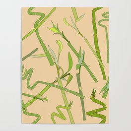 Scattered Bamboos on Beige Poster