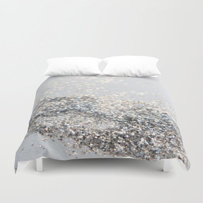 Silver Gray Glitter #2 #shiny #decor #art #society6 Duvet Cover