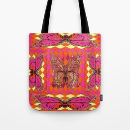 ABSTRACT MONARCH BUTTERFLY IN PINK-YELLOW Tote Bag