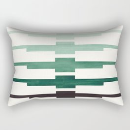Mid Century Minimalist Ancient Aztec Inca Geometric Pattern Watercolor Deep Green Colorful Gouache Rectangular Pillow