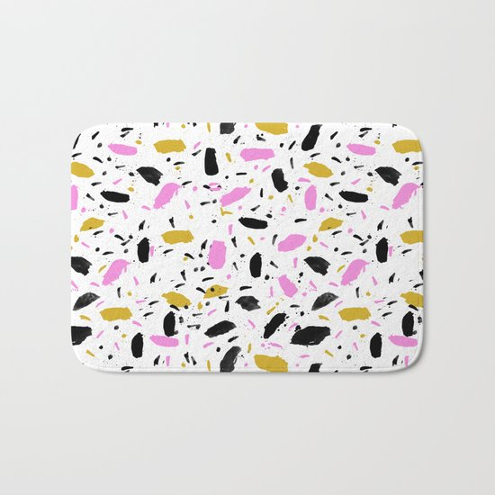 Terrazo cute pink black and white gender neutral modern abstract pattern painting painterly boho art Bath Mat
