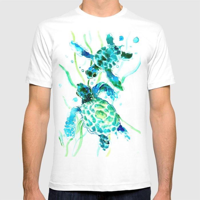 Sea Turtles, Turquoise blue Design T-shirt