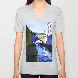 Etude drawing of the ancient architecture of the river canals of the city. Unisex V-Neck