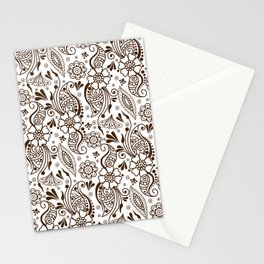 Mehndi or Henna (Brown and White) Stationery Cards
