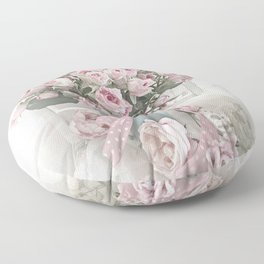 Pastel Roses In Vase - Shabby Chic Roses Pink Aqua Floral Print Home Decor Floor Pillow