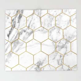 Gold marble hexagon pattern Throw Blanket