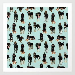 Black and Tan Coonhound Pattern Art Print
