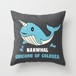 Narwal Unicorn of the Deep Sea Ocean Putzig Gift Throw Pillow