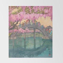 Yoshida Kameidô Japanese Woodblock Print Vintage Asian Art Wisteria Garden Bridge Throw Blanket
