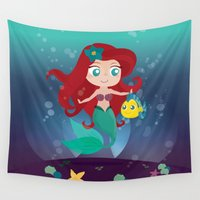 ariel Wall Tapestries featuring Ariel by Loud & Quiet
