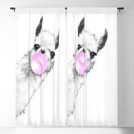 Bubble Gum Sneaky Llama Black and White Blackout Curtain