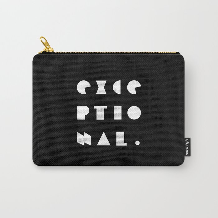 8bfc8bf96b51 EXCEPTIONAL geometric typography composition in black and white Carry-All  Pouch by omamimini