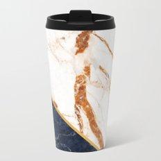 Classy Elegant White Blue Gold Marble Travel Mug