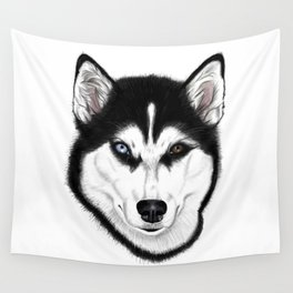 Husky different eyes Wall Tapestry