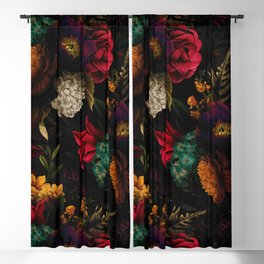 Midnight Hours Dark Vintage Flowers Garden Blackout Curtain