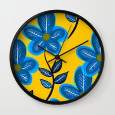 Blue Flowers and Yellow Pattern Wall Clock