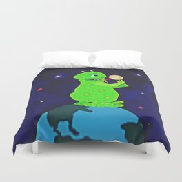 Munching on the Moon Duvet Cover
