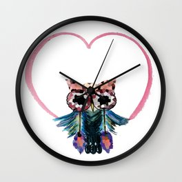 Owl with  Heart Wall Clock