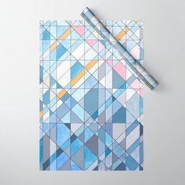 Triangle Pattern no.17 Light Blues Wrapping Paper