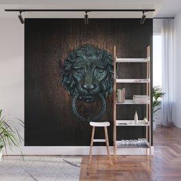 Vintage bronze lion door knocker Wall Mural