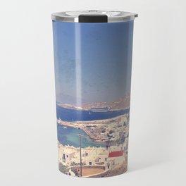 The Blue Tones of Mykonos Travel Mug