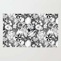 tattoos Area & Throw Rugs featuring Teddy Tattoos BW by TheBleepBloopShop