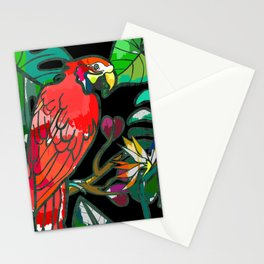 Parrot macaw, tropical bird print Stationery Cards