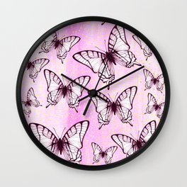 butterfly pattern on pastel pink Wall Clock