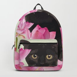 Lotus Flower Blossoms Black Cat Backpack