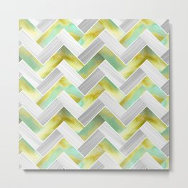 Parquetry in Watercolour - Acid Green Metal Print