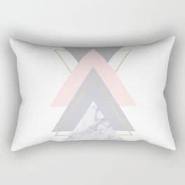 Blush Marble Gray Gold Geometric Pattern Rectangular Pillow